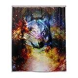 mydaily Space Wolf Galaxy Duschvorhang 152,4x 182,9cm, schimmelresistent & Wasserdicht Polyester Dekoration Badezimmer Vorhang