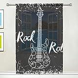 Cortina Transparente Rock Roll Music Voile Tulle Cortinas de Ventana, 1 Juego de...