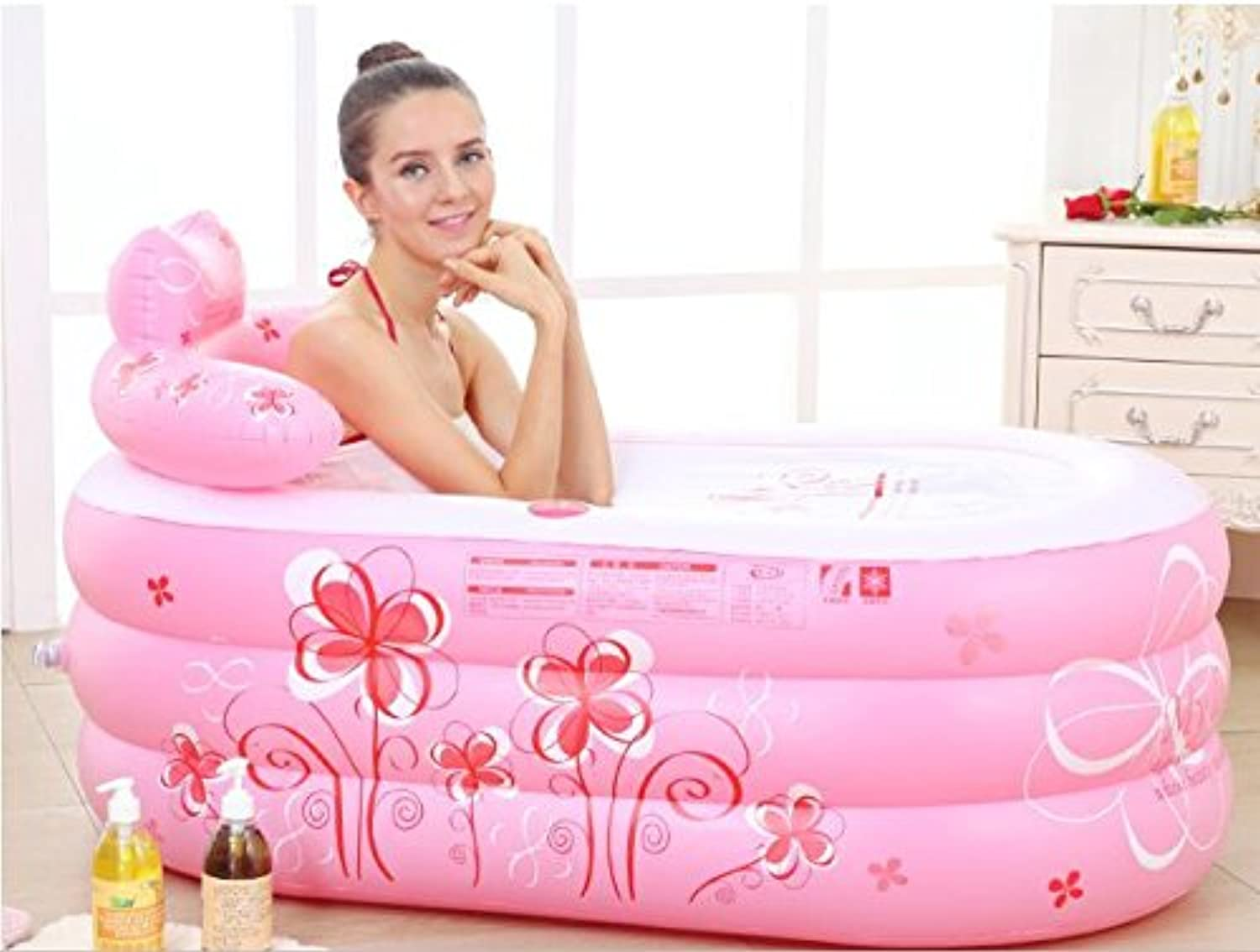 WEBO HOME- Thickened Adult Inflatable Folding Bathtub (size  13075  70 Cm) (color   Pink Printing, Size   Hand Pump)