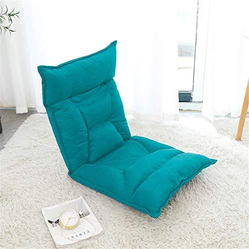 Silla de Sofá Plegable Ajustable de 42 bits de espuma de memoria silla suelo almohadilla de la silla del juego cómodo colchón de esponja Juegos de Amamantar ( Color : Blue , Size : 55X52X60CM )