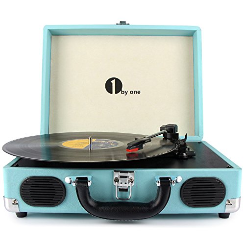 1 BY ONE Belt-Drive 3-Speed Portable Stereo Turntable.