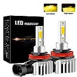 Chemini Bombilla de faro LED para automóvil H8/H11, foco de luz baja/luz alta, diseño de bombilla halógena 1: 1, chip COB de alto brillo 3000K amarillo 60W