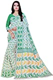 Aishwarya Sarees Women's Soft Dhakai Cotton Jamdani Saree Zik-Zak Design With Blouse Piece(White And Green)