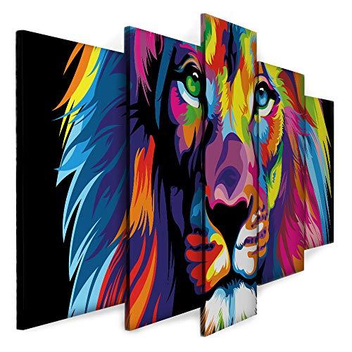 Quadro Decorativo Sala Quarto Escritório Leão Colorido