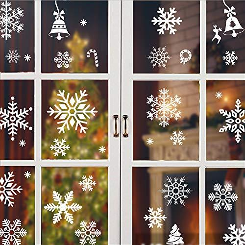 ENYACOS 326 Schneeflocken Fensterdeko Fensterbilder, Fensterdeko Schneeflocken Schneeflocken Fensterbilder Abnehmbare Fensterdeko Statisch Haftende PVC Aufkleber für Weihnachts-Fenster Dekoration (a)