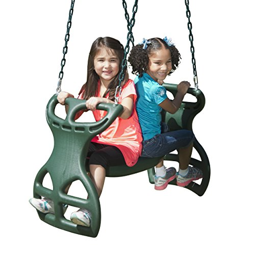 Swing-N-Slide PB 8272 Cedar Brook Play Set with Two Swings, Slide, Monkey Bars, Picnic Table & Glider, Green