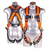 Palmer Safety Fall Protection Full Body 5 point Harness, Aluminum Dorsal D-ring, Quick-Connect Buckle, Grommet Legs, Sewn in back pad I OSHA ANSI Industrial Roofing Tool Personal Equipment (Universal)