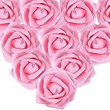 MEJOSER 50PCS Rose Blanche Artificielle 7cm Fleur Saint Valentin Tête de Fleur Blanc Décoration Mariage Party Cérémonie Accessoire de Cheveux (Rose foncé)