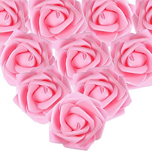 MEJOSER 50er Schaumrosen Künstliche Blumen Rosenköpfe Rosenblüten Foamrosen Brautstrauß DIY Party Hause Hochzeit Deko (Dunkel Rosa)