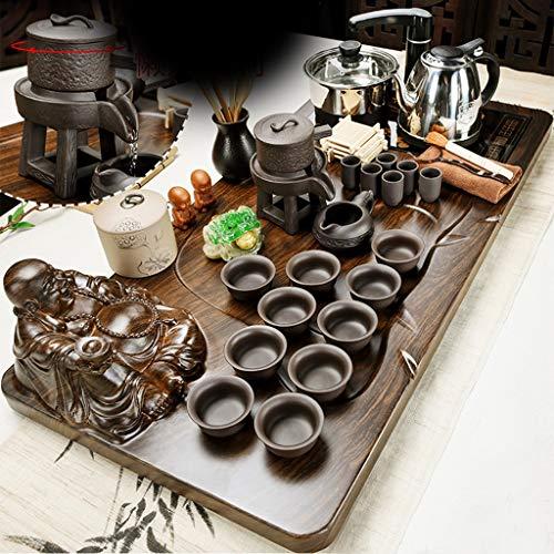 HNWNJ bandeja de te Conjunto de cerámica china del té, sólidos ceremonia del té de madera bandeja for el té, la tetera simples de la casa, eléctrico Pot, la taza de té Mar, necesaria for la Oficina de