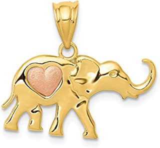14k Yellow Rose Gold Elephant Heart Pendant Charm Necklace Animal Fine Jewelry Gifts For Women For Her