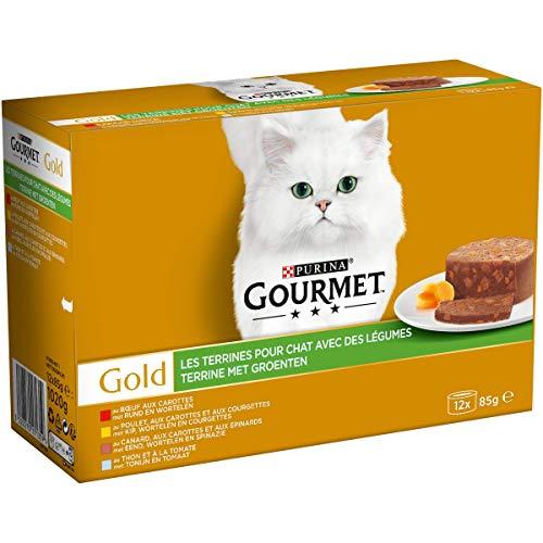 GOURMET - Les Terrines avec des Légumes : Poulet-Carottes-Courgettes, Bœuf-Carottes, Canard-Carottes-Epinards, Thon-Tomate - 12x85g - Lot de 8
