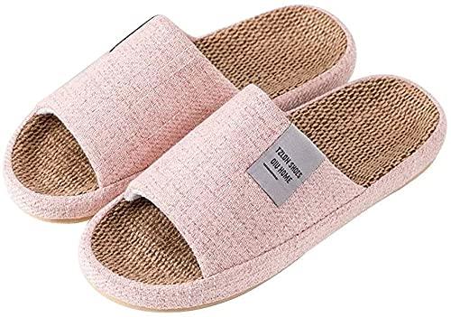 JSY Zapatillas de punta abierta casual de lino de algodón antideslizante, zapatillas de dormitorio, zapatillas de la casa de los hombres Sandalias casuales de interior silencios Zapatillas de estar po