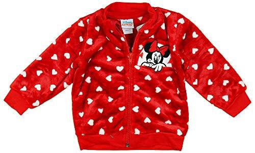 Baby Jacke Mädchen Größe 56 62 68 74 80 86 Minnie Mouse Disney Rot mit Herzen ohne Kapuze 0-6 Monate 6-9 Monate Winter oder Sommer Neugeborene (Modell 1, 68)