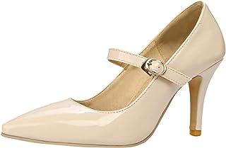 [JYshoes] パンプス ポインテッドトゥレディース美脚 甲ストラップ ピンヒール メアリージェーンハイヒール パテントレザーシューズ 結婚式パーティー フォーマルおしゃれ人気 靴