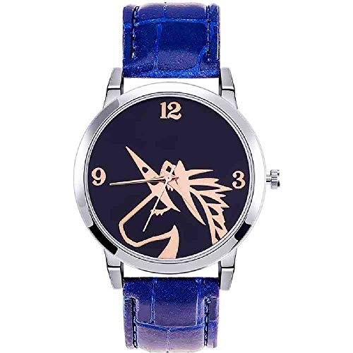 OLUYNG Reloj de Pulsera Moda Mujer Reloj Unicornio Banda de Cuero Acero Inoxidable Reloj de Pulsera de Cuarzo analógico señora Relojes creativos