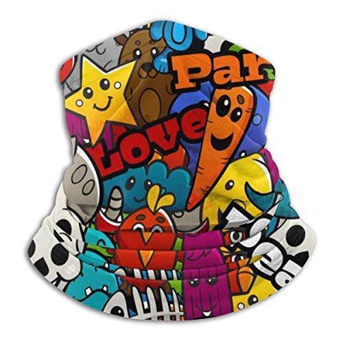 XCNGG Cartoon Graffiti Peace Love Neck Warmer Winddichter Gesichtsschal Fleece Hood...