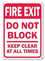安全標識-火災出口は常にブロックしないでください。インチの金属錫標識通知警告標識屋外