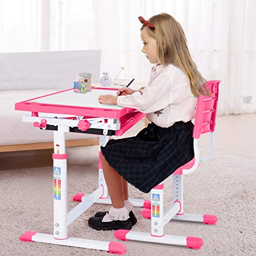 Cagogo Kids Desk and Chair Set, Children Writing Student Desk Drafting Table Height Adjustable Study Table and Chair with Drawers Storage (Pink)