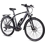 CHRISSON 28 Zoll Herren Trekking- und City-E-Bike - E-Actourus anthrazit matt - Elektro Fahrrad Herren - 10 Gang Shimano Deore Schaltung - Pedelec mit Performance Line Mittelmotor 250W, 63Nm