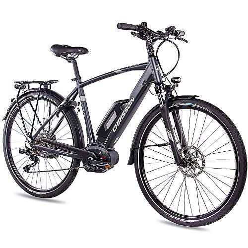 CHRISSON 28 Zoll Herren Trekking- und City-E-Bike - E-Actourus anthrazit matt - Elektro Fahrrad Herren - 10 Gang Shimano Deore Schaltung - Pedelec mit Performance Line Mittelmotor 250W, 63Nm*