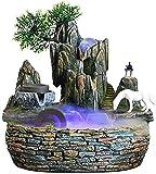 ZXHStore Fuente de rocentina de Agua Feng Shui Desktop Fountain Decoration, Mini Fuente de la Cascada con el Cambio de Color Iluminación, Molino de Piedra y Caballo Blanco