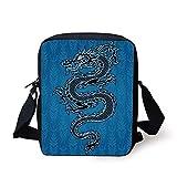 Japanese Dragon,Black Dragon on Blue Tribal Background Year of The Dragon Themed Art Decorative,Blue Black White Print Kids Crossbody Messenger Bag Purse