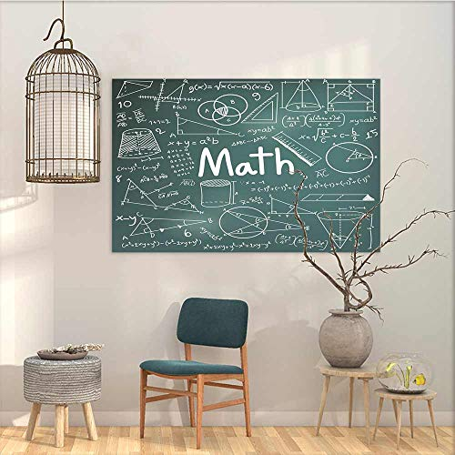 Art oil painting sticker Murals Mathematics Classroom Decor School Board Full of Drawings Formulas Shapes Theory Math Word for Home Decoration Wall Decor Teal White W19'xL15'
