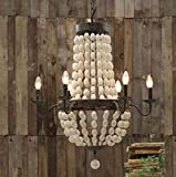 Iron Frame & Wood Wooden Beads Ball Pendant Chandelier Lamp 6 Lights 28' Large Fixture Rustic