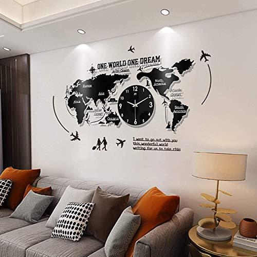 Yxxc Horloge murale, Carte du Monde horloge murale Grand Design Moderne horloge suspendue 3D montre murale acrylique silencieuse décor à la Maison montre murale silencieuse Pour Bureau