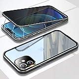 Cover per Apple iPhone 12 mini Anti Spy Custodia,360° Privacy Vetro Temperato Protezione Cover,Anti Peep Magnetico Metallo Telaio Antiurto Rugged Paraurti Anti-Spia Case per iPhone 12 mini 5.4,Argento