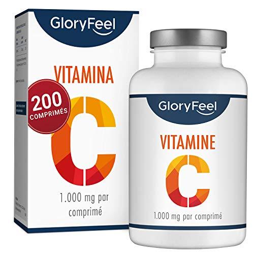 Vitamine C 1000 mg - 200 Comprimés Végétaliens (7 Mois) - Vitamine C Pour le Système Immunitaire - Vegan, Complément Alimentaire Testés en Laboratoire sans Additifs, Fabriqué pour GloryFeel