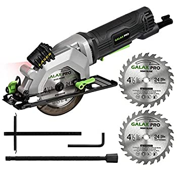 GALAX PRO 4Amp 3500RPM Circular Saw with Laser Guide Max Cutting Depth1-11/16  90°  1-1/8  45°)Compact Saw with 4-1/2  24T TCT Blade Vacuum Adapter Blade Wrench and Rip Guide
