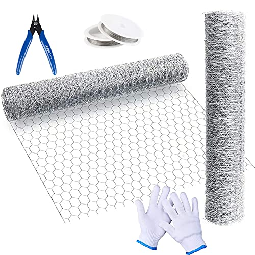 JQAQJU Chicken Wire Net for Craft Work 13.7× 40× 0.63Inch, 3 Sheets(10ft) Galvanized Hexagonal Chicken Wire Fence with Gloves, 26 Gauge Wire and Plier
