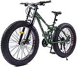 Suge 26 Bici Pollici Donne di Montagna Doppio Freno a Disco Fat Tire Mountain Trail Bike Hardtail Mountain Bike Uomo Donna Città Commuter Biciclette, Perfetto for Strada o sporcizia Trail Touring