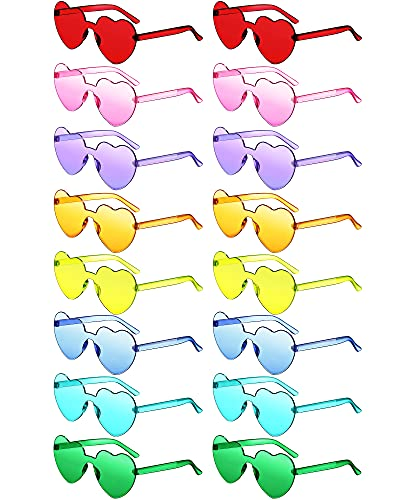 Colzzy 16 Pairs Heart Shaped Rimless Sunglasses Transparent Candy Color Frameless Glasses Colorful...