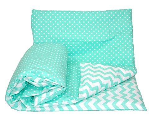 Set de ropa de cama reversible para bebé (2 piezas: funda de edredón y funda de almohada), de la marca Baby's Comfort 7 - Mint chevron / mint dots Talla:70x80cm for cribs / prams / moses baskets