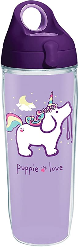 Tervis 1288776 Puppie Love Unicorn Puppy Tumbler With Wrap And Purple Lid 24oz Water Bottle Clear