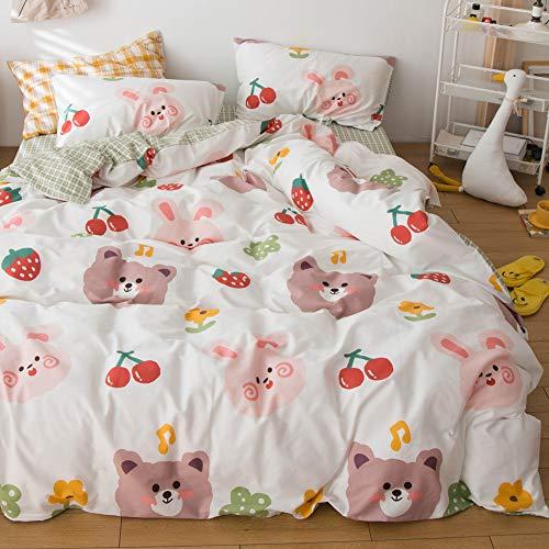 LAYENJOY Cartoon Duvet Cover Set Queen 100% Cotton Rabbit Bear Cherry Strawberry Pattern on Beige White Bedding for Kids Teens Boys Girls 1 Animals Comforter Cover Full with Zipper Ties 2 Pillowcases