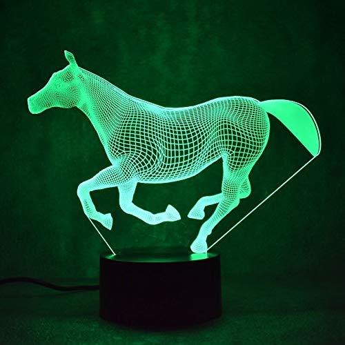 Night coral horse lantern novela sala de luz inalámbrica 3D LED lámpara de mesa pequeña interfaz USB luz de control remoto táctil luz de noche colorida