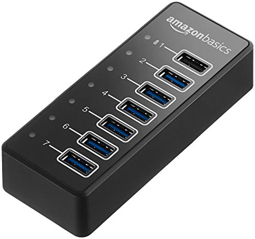 AmazonBasics USB-A 3.1 7-Port Hub with Power Adapter - 36W Powered (12V/3A), Black