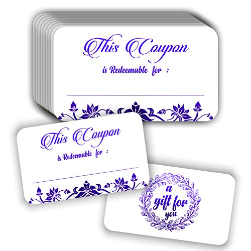 """50 Blank Gift Vouchers - 3.5""""x2"""" Purple Foil Stamping Redeem Certificates for Small Business Package Insert"""