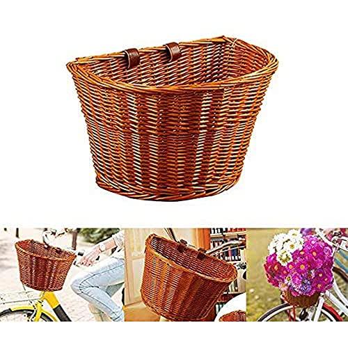 Miouldram Cestino per Bicicletta a Forma di D in Vimini Cestino per la Spesa Portatile Cesto per Verdure da Mountain Bike Cesto Anteriore per la Protezione dellambiente 35cm
