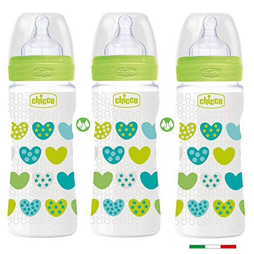 Chicco PP Flaschen Uni 3er Set // Babyfläschchen Well-Being 330ml //