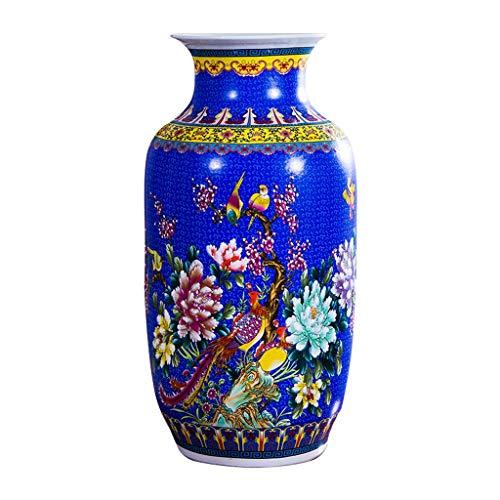 Vase Grave Ceramic Classical Large for Dry Flowers Decoration Art Home Household Wedding Living Room Bedroom Office Desktop Blue 32 x 60 cm for flowers