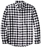 Amazon Essentials Men's Regular-Fit Long-Sleeve Plaid Flannel Shirt, Black Buffalo Plaid, Large