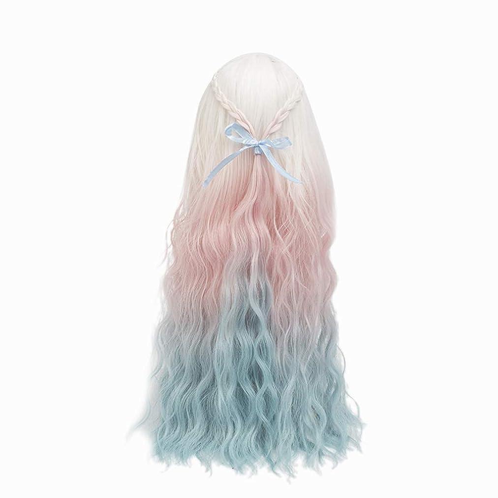 カードれる神経障害Healifty Healiftyファッション人形かつらヘアピース長い巻き毛人形用DIY作りと修理アクセサリー色とりどりのグラデーション