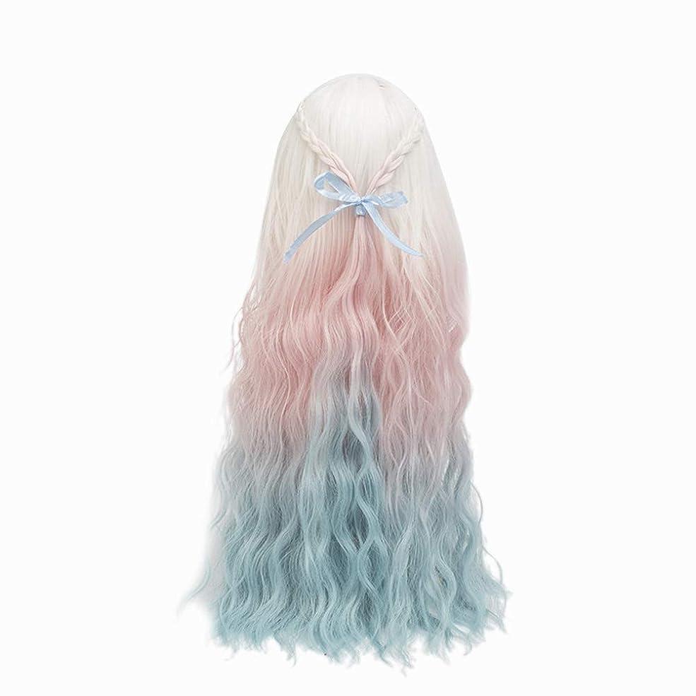 安全なおめでとう代表団Healifty Healiftyファッション人形かつらヘアピース長い巻き毛人形用DIY作りと修理アクセサリー色とりどりのグラデーション