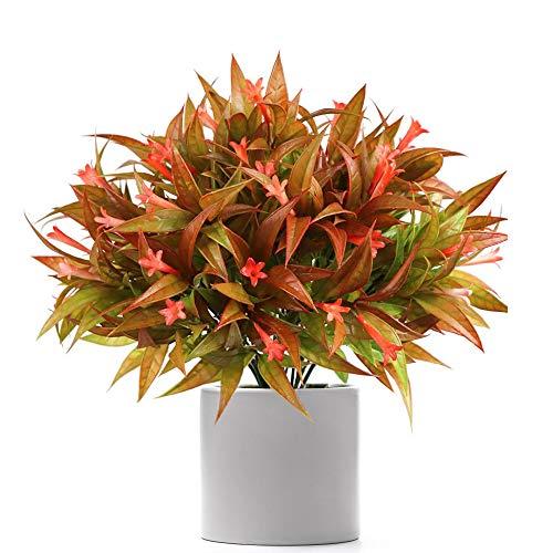 JUN-H 4 Paquetes de Plantas Artificiales Arbustos Falsos Morning Glory Flores Arbustos de Plástico Cestas de Flores Colgantes para Interiores y para la Boda en Casa Decoración de Jardín al Libre