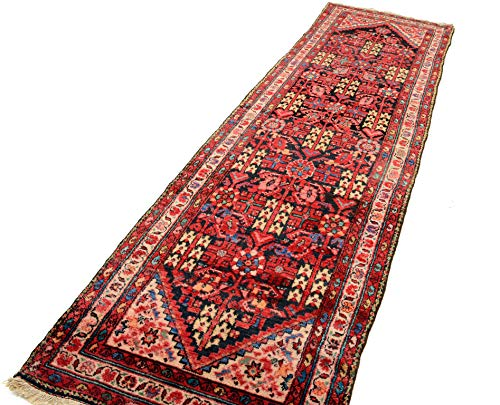 Cristina Carpets Orientalischer Teppich MALAYER 96 x 346 Jahrhundert auf Hand Original Manufaktur Vello Wolle Wolle Wolle Baumwolle Rot
